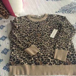 Leopard White + Warren Cashmere Crewneck Sweater